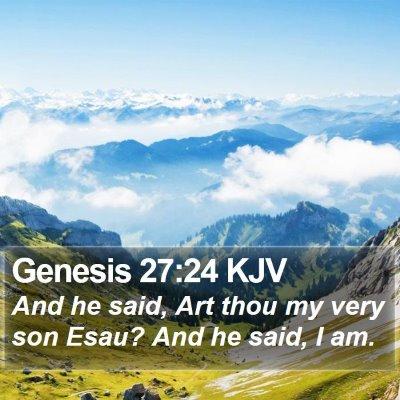 Genesis 27:24 KJV Bible Verse Image