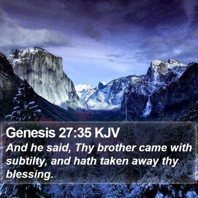 Genesis 27:35 KJV Bible Verse Image