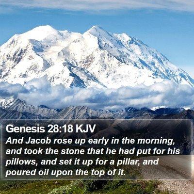 Genesis 28:18 KJV Bible Verse Image