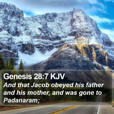 Genesis 28:7 KJV Bible Verse Image