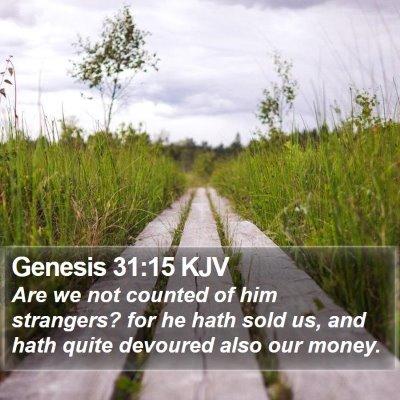 Genesis 31:15 KJV Bible Verse Image