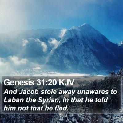 Genesis 31:20 KJV Bible Verse Image
