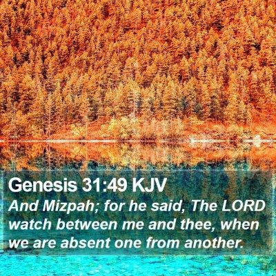 Genesis 31:49 KJV Bible Verse Image