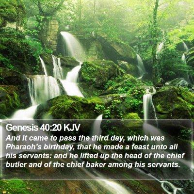 Genesis 40:20 KJV Bible Verse Image