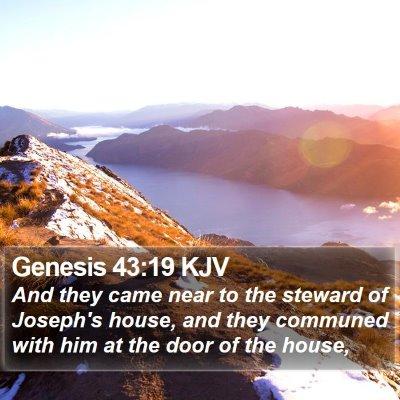 Genesis 43:19 KJV Bible Verse Image
