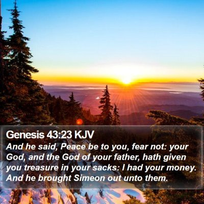 Genesis 43:23 KJV Bible Verse Image