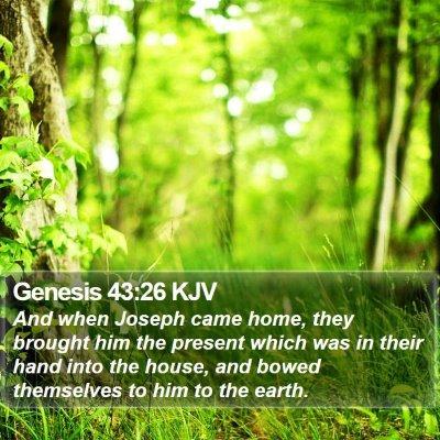 Genesis 43:26 KJV Bible Verse Image