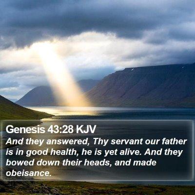 Genesis 43:28 KJV Bible Verse Image