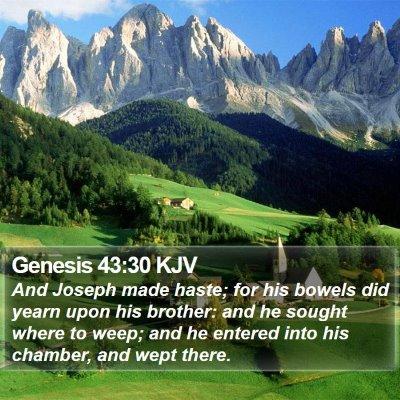 Genesis 43:30 KJV Bible Verse Image