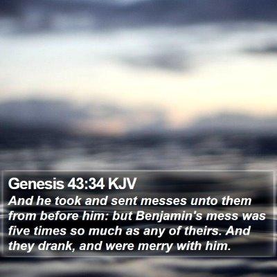 Genesis 43:34 KJV Bible Verse Image