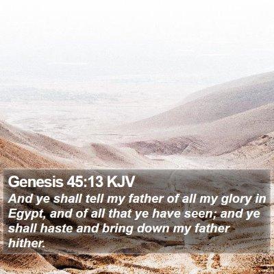 Genesis 45:13 KJV Bible Verse Image