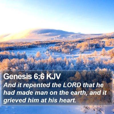 Genesis 6:6 KJV Bible Verse Image