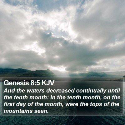 Genesis 8:5 KJV Bible Verse Image