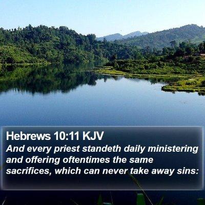 Hebrews 10:11 KJV Bible Verse Image