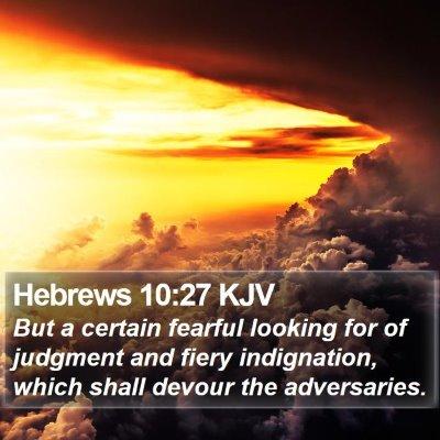 Hebrews 10:27 KJV Bible Verse Image
