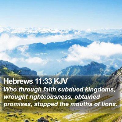 Hebrews 11:33 KJV Bible Verse Image