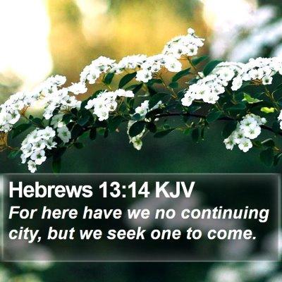 Hebrews 13:14 KJV Bible Verse Image