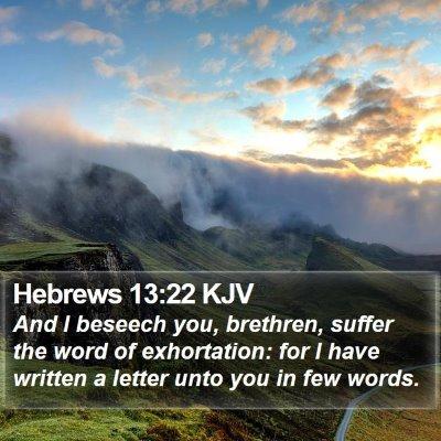 Hebrews 13:22 KJV Bible Verse Image