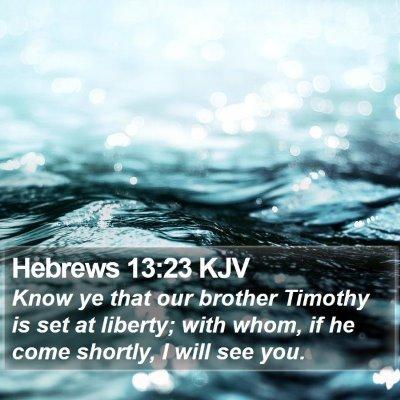 Hebrews 13:23 KJV Bible Verse Image