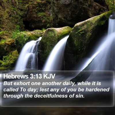 Hebrews 3:13 KJV Bible Verse Image