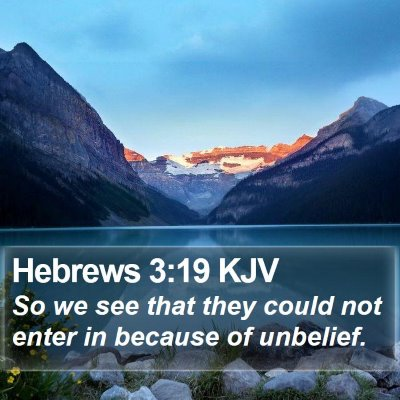 Hebrews 3:19 KJV Bible Verse Image