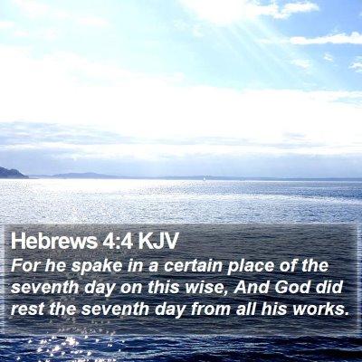 Hebrews 4:4 KJV Bible Verse Image