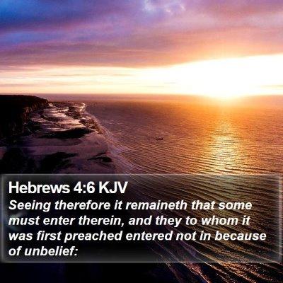 Hebrews 4:6 KJV Bible Verse Image