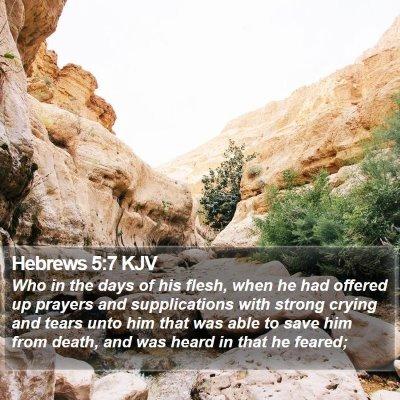 Hebrews 5:7 KJV Bible Verse Image