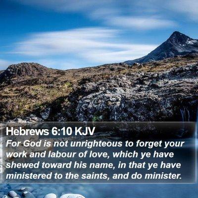 Hebrews 6:10 KJV Bible Verse Image
