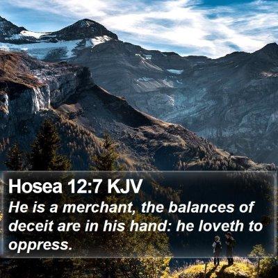 Hosea 12:7 KJV Bible Verse Image