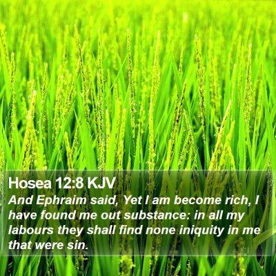 Hosea 12:8 KJV Bible Verse Image