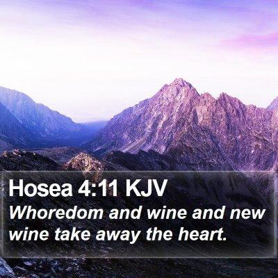 Hosea 4:11 KJV Bible Verse Image