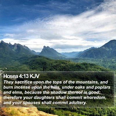 Hosea 4:13 KJV Bible Verse Image