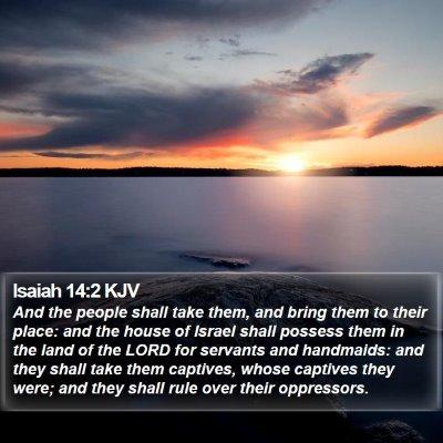 Isaiah 14:2 KJV Bible Verse Image