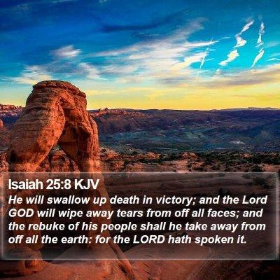 Isaiah 25:8 KJV Bible Verse Image
