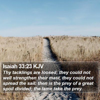 Isaiah 33:23 KJV Bible Verse Image