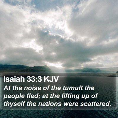 Isaiah 33:3 KJV Bible Verse Image