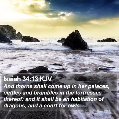 Isaiah 34:13 KJV Bible Verse Image