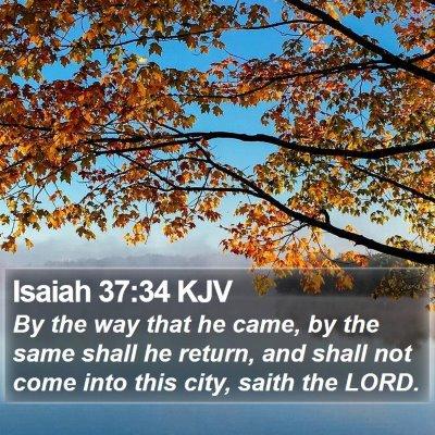 Isaiah 37:34 KJV Bible Verse Image
