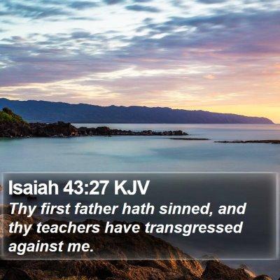 Isaiah 43:27 KJV Bible Verse Image