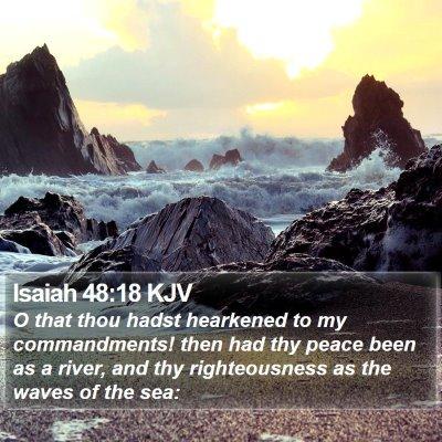 Isaiah 48:18 KJV Bible Verse Image