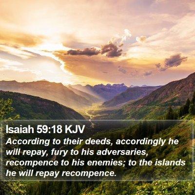 Isaiah 59:18 KJV Bible Verse Image