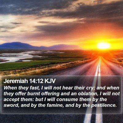 Jeremiah 14:12 KJV Bible Verse Image