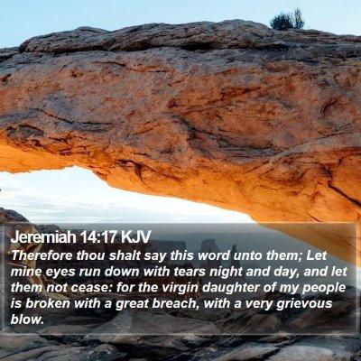 Jeremiah 14:17 KJV Bible Verse Image