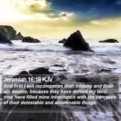 Jeremiah 16:18 KJV Bible Verse Image