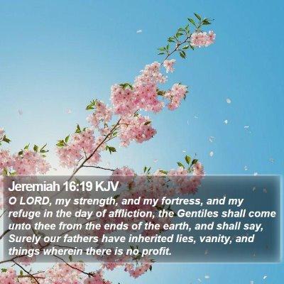 Jeremiah 16:19 KJV Bible Verse Image