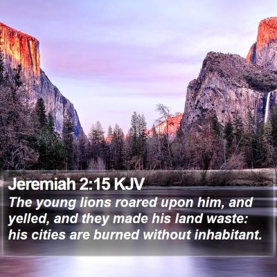 Jeremiah 2:15 KJV Bible Verse Image