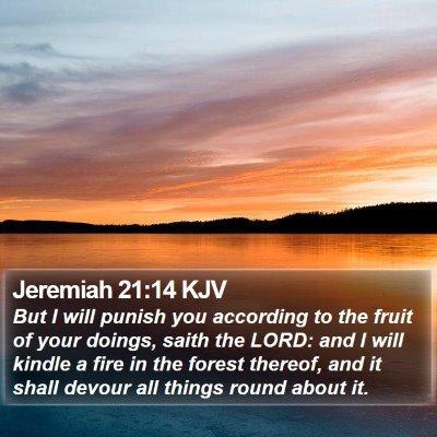 Jeremiah 21:14 KJV Bible Verse Image