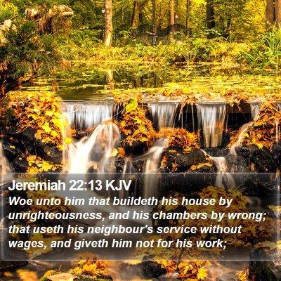 Jeremiah 22:13 KJV Bible Verse Image