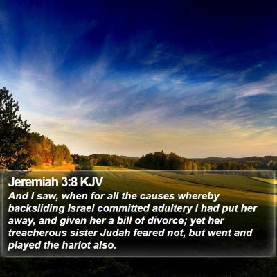 Jeremiah 3:8 KJV Bible Verse Image